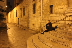 "Waiting at the ""Midnight in Paris"" stairs for the Magic Cab to pick me up!"