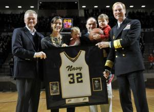 CDR Becky Calder after her jersey was retired at USNA (photo US Naval Academy)