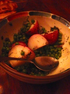 Peas with dill.  Who knew the potatoes would take an hour to simmer?