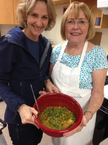 My partner Sandy and I with our Chicken, Lemon and Olive Stew at my cooking class