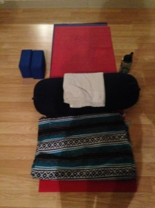 My set-up for Gentle Yoga class at the Y.  Ninety minutes of bliss.