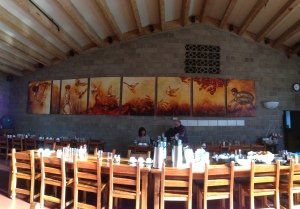 The Monastery Dining Room, with the exquisite artwork the I contemplated during my meals