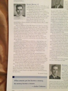 Capt Brooke's obituary in the January-February 2014 Edition of Shipmate Magazine
