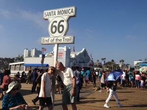 At the end of Route 66 on the Santa Monica Pier, showing early signs of Route 66 Blur