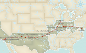 Our Route 66 Itinerary showing our stops