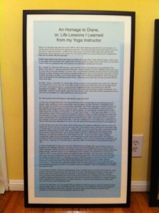 The framed copy of my blog post in Diane's house.