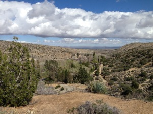 The beauty and solitude of the High Desert. Looking down on the Monastery from the Cemetery