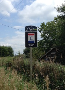 The Lincoln Highway in Iowa is well marked with these signs