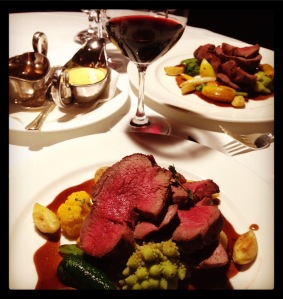 Our chateaubriand dinner for two at the Post Hotel in Lake Louise, expertly served by Savin
